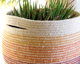 Cotton Rope Basket with Handles || Rope Planter || Sunset Orange Basket || Rope Bucket