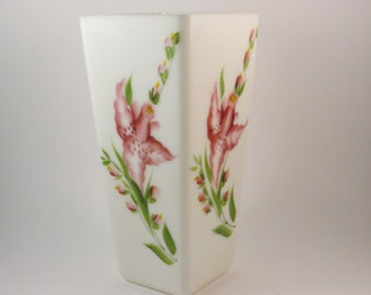 Vintage Dunbar Milk Glass Vase with Hand Painted Gladiolus Flowers Genuine Milk Glass 1940s White Glass Vase Gift For Her