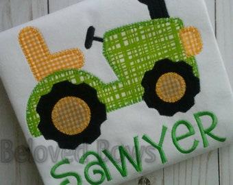 Applique Tractor Shirt, Personalized Farm Shirt, Boys Tractor Shirt, Farm Birthday Shirt, Litter Farmer Shirt