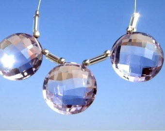 3 pcs set of 12mm AAA Pink Amethyst faceted coin briolettes matched pair and a focal pendant Total of 3 pieces