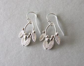 Silver Dangle Leaves and Berries Earrings - silver dangle earrings , gift for her , silver earrings , woodland earrings , christmas gift