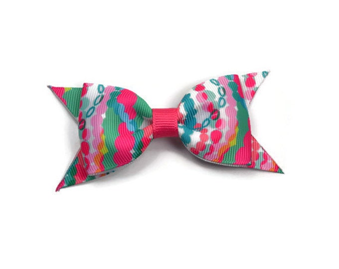 "Dripping in Jewels ~ 3.5"" Hairbow ~ Lilly Inspired ~ Small Hair Bow ~ Girls Barrette ~ Toddler Bow ~ Hair Clip ~ Girls Hair Bow"