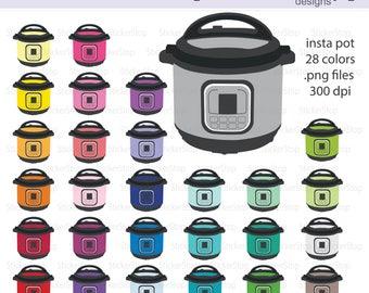 Instant Pot Clipart 29 colors, PNG Digital Clipart - Instant download