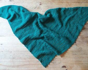 Nettle Crochet Shawl Scarf - Dark Green - Ready to Ship