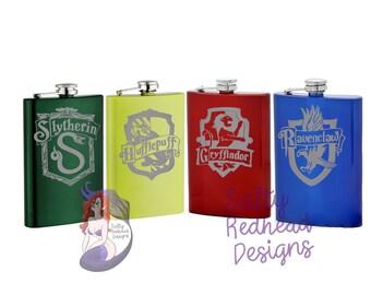 Hogwarts House Crest Sandblasted 8oz Flask
