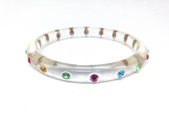 Vintage Estate Colorful Rhinestone Lucite Gorgeous Bangle Bracelet