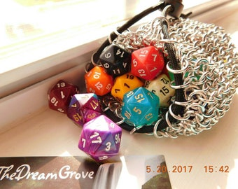 Medium Chain mail dice/change/accessory/so much more bag