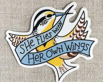She Flies With Her Own Wings Vinyl Sticker / Oregon State Motto / Western Meadowlark Bird / Laptop Sticker / Feminist Sticker / Waterproof