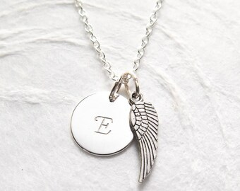 First Communion Necklace, Personalized Angel Wing Necklace, Hand Stamped Initial, Confirmation Gift for Girl, Handmade