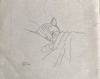 Crewel 'Chessie' Cat Canvas