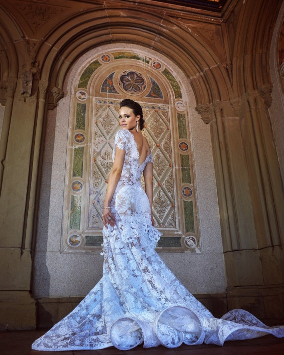 Irina Shabayeva Couture  lace applique gown with a tulle bottom. Comes in white, black , nude , grey, and red. (Nude lining)