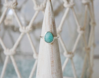 Amazonite Ring • Sterling Silver • 925 • Oval Rose Cut Gemstone Ring