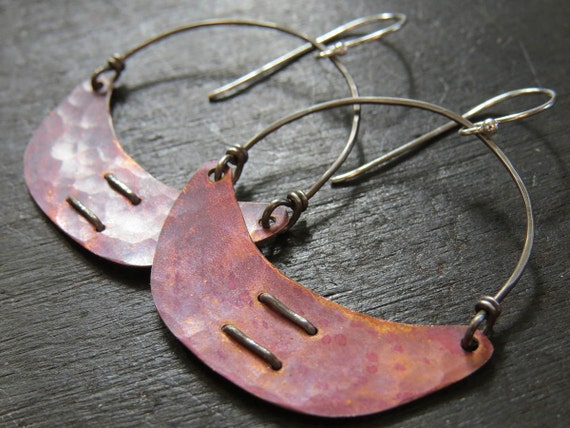 Small Copper Crescent Earrings