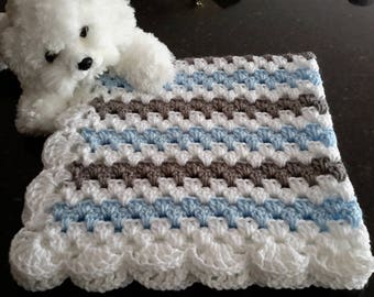 baby boy blanket, crochet granny stripe, crochet blanket, afghan crochet, crocheted blanket, crocheted afghan, blue gray & white