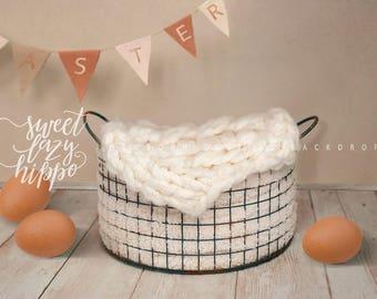 Easter newborn digital backdrop. Basket for newborn baby and eggs on white wood floor. Instant download, jpg file.