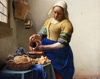 Oil painting gift The Milkmaid Johannes vermeer Renaissance hand painting