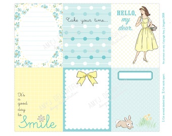 DAISY Journal cards-Digital File Instant Download-Planner Inserts, spring, Easter, Project Life, vintage, retro lady, bunnies, vintage