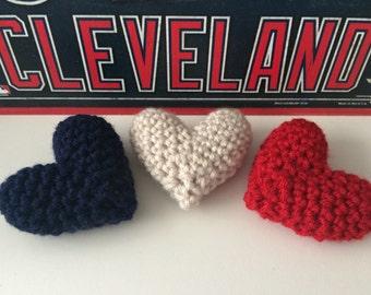 Crochet Puffy Hearts, MLB Cleveland Theme, Set of 3, Charity Donation, Catnip Upgrade