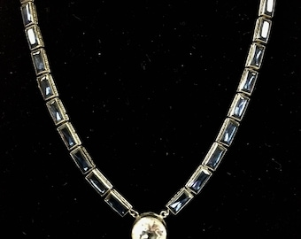 pre-1940s Silver-tone & Crystal Necklace