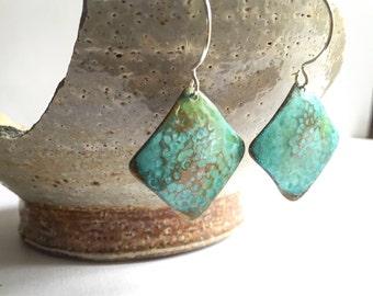Textured Verdigris Square Earrings