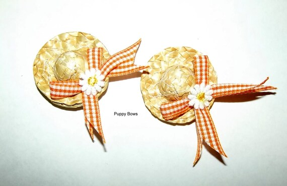 Puppy Bows ~ Daisy and Orange gingham straw hat dog bow with pet hair clip (fb9)
