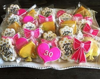 Pop Fizz Clink Spade Inspired Cookies - 1 Dozen (12) Custom Sugar Cookies