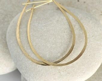 Hammered Gold Teardrop Hoop Earrings in 14K gold or gold fill