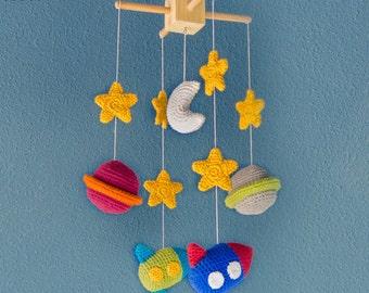 Space Mobile - PDF Crochet Pattern PHOTOTUTORIAL - Instant Download - Nursery Baby Shower Space Cuddy Stuff Plush