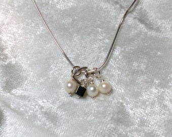 Pearls and Hematite Charm Necklace