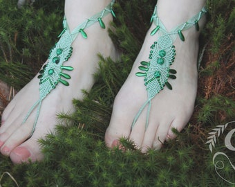 Barefoot Leaf Warbler inspired macrame barefoot sandals Malachite, boho,foot jewellery, gypsy,anklet,indie, beach,summer,foot adornment