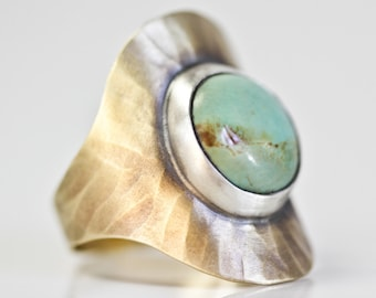 Genuine Turquoise Gold Ring / Cocktail Ring / Nu Gold / Roots Jewelry / Bohemian Chic / Radiating Rays Ring / Grounded / Statement Ring