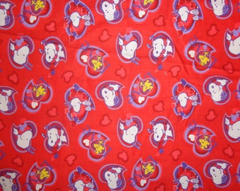 31 Inches Snoopy Red Heart Cotton Fabric