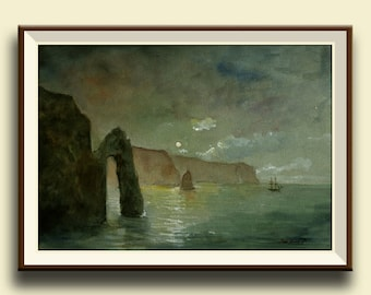 PRINT-Clifs at night with sail ship painting watercolor, seascape   - Art Print by Juan Bosco