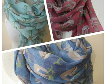 Sloth scarf, animal scarves-sloth print fabric accessories, 2016 trend sloth gift-gifts for men-women,denim blue mint damson-Turkey scarves
