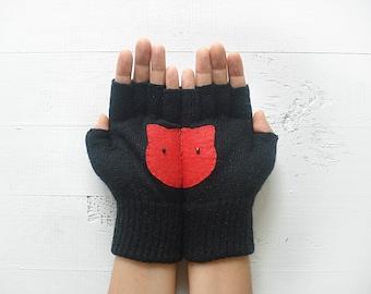 Cat Gloves, Pet Lover Gift, Mother's Day Gift, Cat Lover Gift, Gift For Her, Gift For Mother, Women Mitten, Fingerless Mitten, Cat Gift