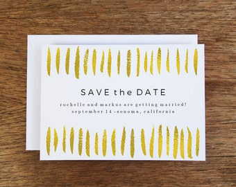 Printable Save the Date Card - Gold Strokes - Save the Date Template - Instant Download - Save the Date PDF - Gold Save the Date Card