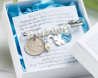 Bridal Pin, Wedding Pin, Bride Gift, Sterling Silver Wedding Pin, Bridal Shower, Silver Sixpence, Something Blue, Sixpence Gift for Bride