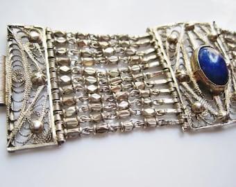 Vintage Lapis Lazuli Bracelet - Silver Egyptian Link Bracelet - Ethnic Jewelry - Egyptian Jewelry