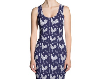 Blue Rooster Dress, Mosaic Tile Dress, Animal Form Fitted Dress, Bird Stretch Dress
