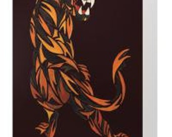 Hand-painted tiger card