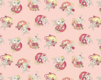 Dear Little World Bunny LW1970-13BQuilt Gate Cotton Fabric Bunny in Tea Cups on Pink