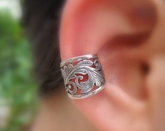 Sterling Silver Ear Cuff - Fake Piercing - Non Pierced - Fake Conch Piercing - Fake Piercings - Lace Ear Cuff - Conch Cuff  Cuffs - Ear Wrap