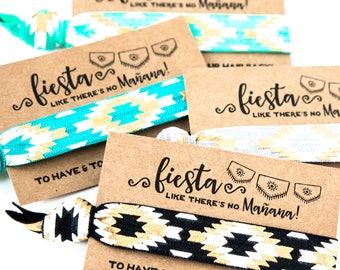 Hair Tie Bridal Shower Favor | Jade Black + Gold Aztec Hair Tie Favors, Tribal Print Boho Hair Tie Favor, Gold Boho Bachelorette Favor