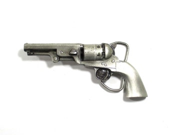 Vintage Belt Buckle Bergamot Brass Works 1851 Colt Navy Revolver Collectible Pewter Pistol Hand Gun Buckle Made in the USA 1979