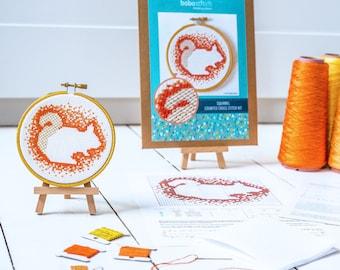 Squirrel cross stitch kit - The Woodland Collection - Modern Cross stitch pattern