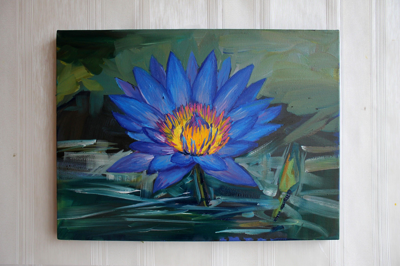 Blue Lotus Flower Original Oil Painting Blue Yellow Green Wall