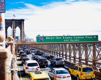 Color Photo Print: NYC Brooklyn Bridge Traffic