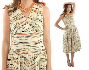 1950s Party Dress Full Skirt Tiger Striped Cotton Vintage 1950s Medium M Rockabilly Pinup Ivory