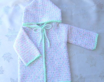 Baby Cardigan hooded woolen white speckled 6 months