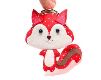 Cute vivid red squirrel clutch purse